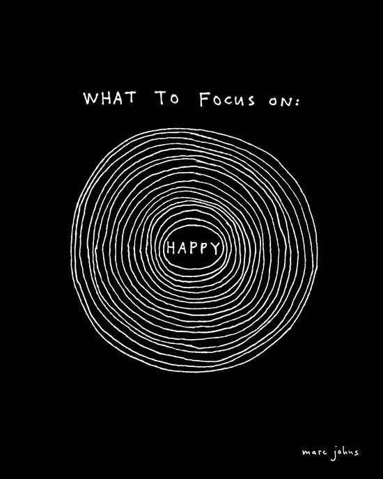 What to focus on - Happy (on black) Art Print