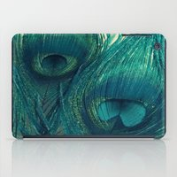 Teal Peacock Feathers iPad Case