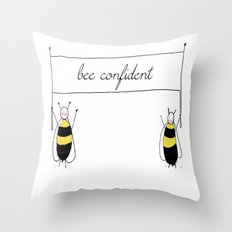 Bee Confident Illustration Throw Pillow