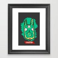 Framed Art Print featuring Bunny Zombie by Jeff'walker