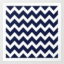 Chevron Navy Blue Art Print
