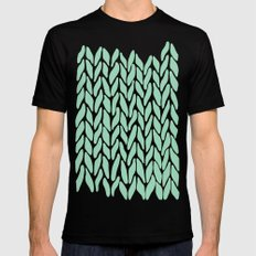 Hand Knitted Mint SMALL Black Mens Fitted Tee