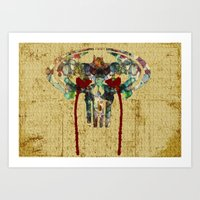 Watercolor Punisher Bat Art Print