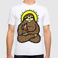 Buddha Sloth Mens Fitted Tee Ash Grey SMALL