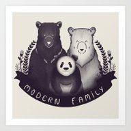 Art Print featuring Modern Bear Family by Tobe Fonseca