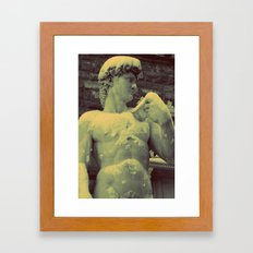David Statue in Florence on a Snowy Day Framed Art Print