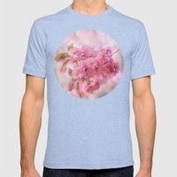 Pink blooms Mens Fitted Tee Tri-Blue SMALL