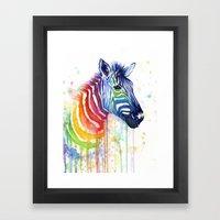 Zebra Rainbow Watercolor Framed Art Print