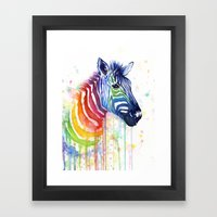 Zebra Rainbow Watercolor Framed Art Print