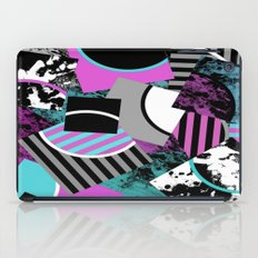Cluttered Sqaures - Abstract, geometric, stripes, pink, cyan, blue, textured, black, white, arcs iPad Case