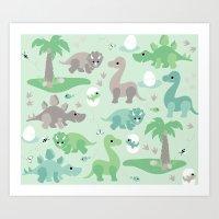 Baby Dinosaurs Art Print