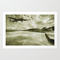 Lancaster Over Omaha Bea… Art Print