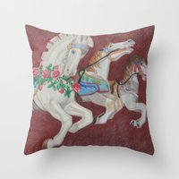 Carousel Race Throw Pillow