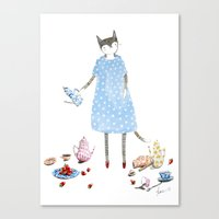 Tea Party Cat in a Karen Walker Dress Canvas Print