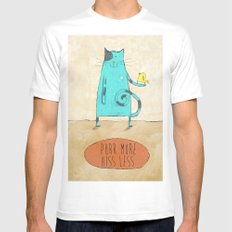 Purr More Hiss Less SMALL White Mens Fitted Tee