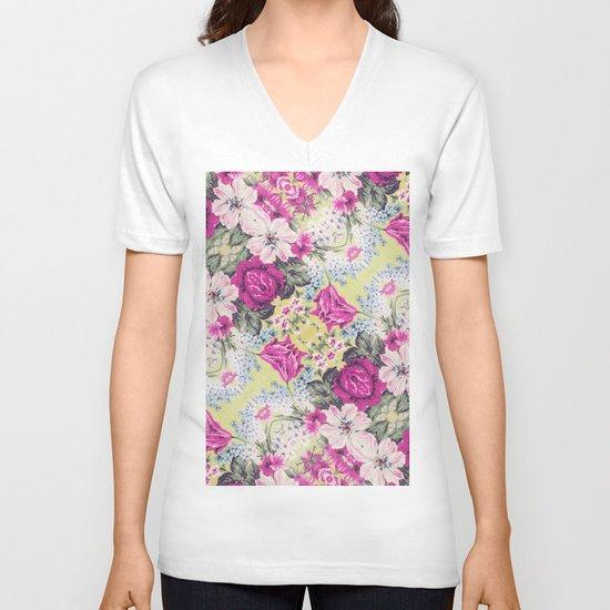 Trendy Vintage Purple Teal Floral Fashion Pattern V-neck T-shirt