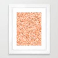 Orange Doodles Framed Art Print