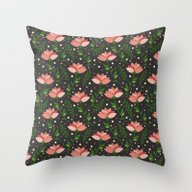 Floral Grey Pattern. Throw Pillow