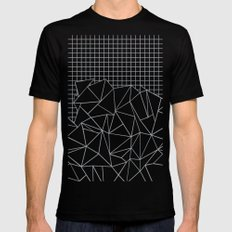 Abstract Outline Grid Grey Mens Fitted Tee SMALL Black
