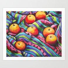 Fruit on Striped Cloth Art Print