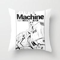 pilot & machine Throw Pillow