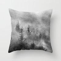 Misty forest. BW Throw Pillow