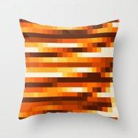 Pixels In Orange Throw Pillow