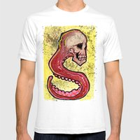 Tentacle Skull Mens Fitted Tee White SMALL