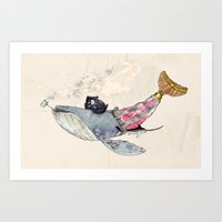 Pirate Whale Art Print