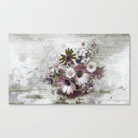 Daisies on Worn Wood Canvas Print