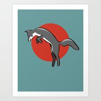 Leaping Fox Art Print