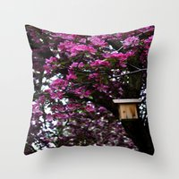 Flowers And Birdhouse 15 Throw Pillow