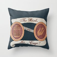 The Cage or the Bird? Throw Pillow