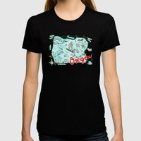 Map Of Oregon Womens Fitted Tee Black SMALL