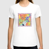 Indigo Hummingbird Womens Fitted Tee White SMALL