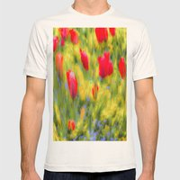 English Summer Flowers Pastel Art Mens Fitted Tee Natural SMALL