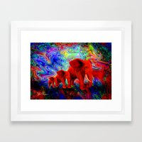 Psychedelic Pachyderms Framed Art Print