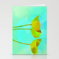 6 Yellow Flowers On Turq… Stationery Cards
