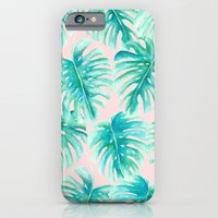 iPhone Cases featuring Paradise Palms Blush by Jacqueline Maldonado