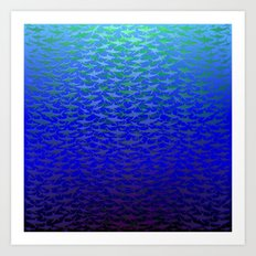 Sharks In Deep Water. Art Print