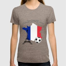 European Championship Football 2016 Womens Fitted Tee Tri-Coffee SMALL