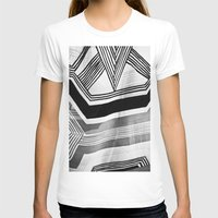 Modern Zebra Abstract Womens Fitted Tee White SMALL