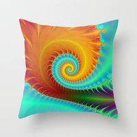 Toothed Spiral In Turquo… Throw Pillow