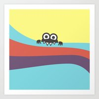 Yummy Colorful Stripes Cute Cartoon Character Art Print