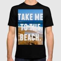 Take Me To The Beach Mens Fitted Tee Black SMALL