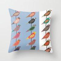 Fun Finches Throw Pillow