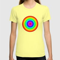 Rainbow Circle Womens Fitted Tee Lemon SMALL