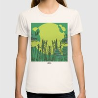 Grassy Sunset. Womens Fitted Tee Natural SMALL