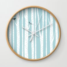 Birch Trees with Bird Wall Clock