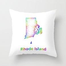Rainbow Rhode Island map Throw Pillow